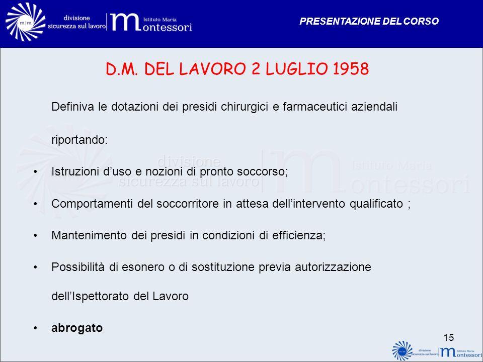 PRESENTAZIONE DEL CORSO D.M. DEL LAVORO 2 LUGLIO 1958 Definiva le dotazioni dei presidi chirurgici e farmaceutici aziendali riportando: Istruzioni dus