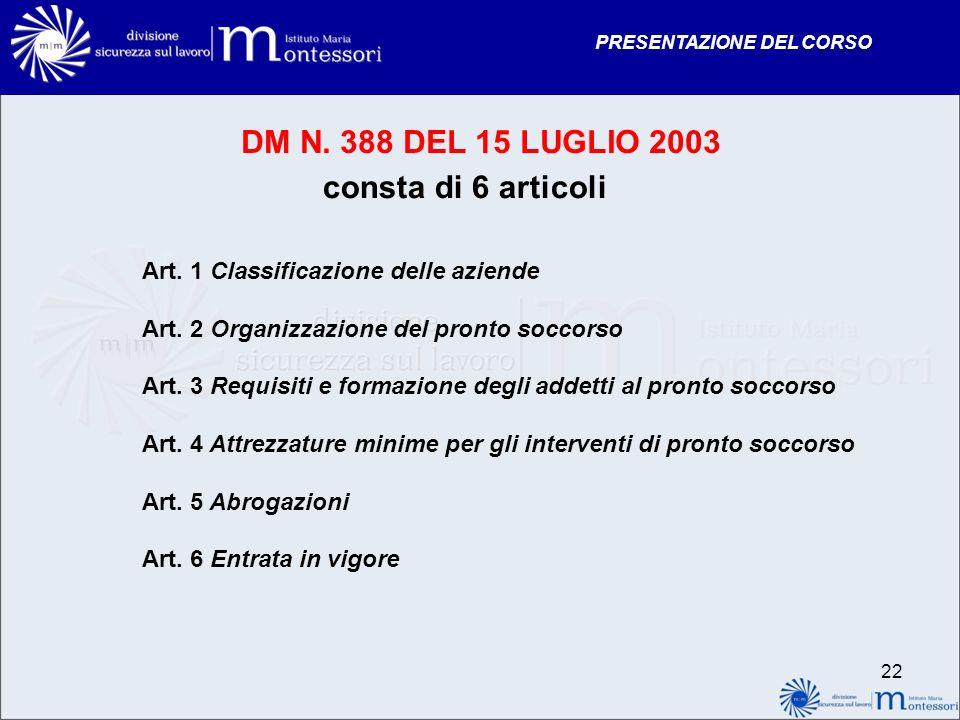 PRESENTAZIONE DEL CORSO DM N. 388 DEL 15 LUGLIO 2003 consta di 6 articoli Art. 1 Classificazione delle aziende Art. 2 Organizzazione del pronto soccor