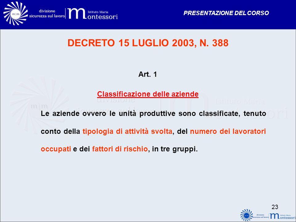 PRESENTAZIONE DEL CORSO DECRETO 15 LUGLIO 2003, N. 388 Art. 1 Classificazione delle aziende Le aziende ovvero le unità produttive sono classificate, t
