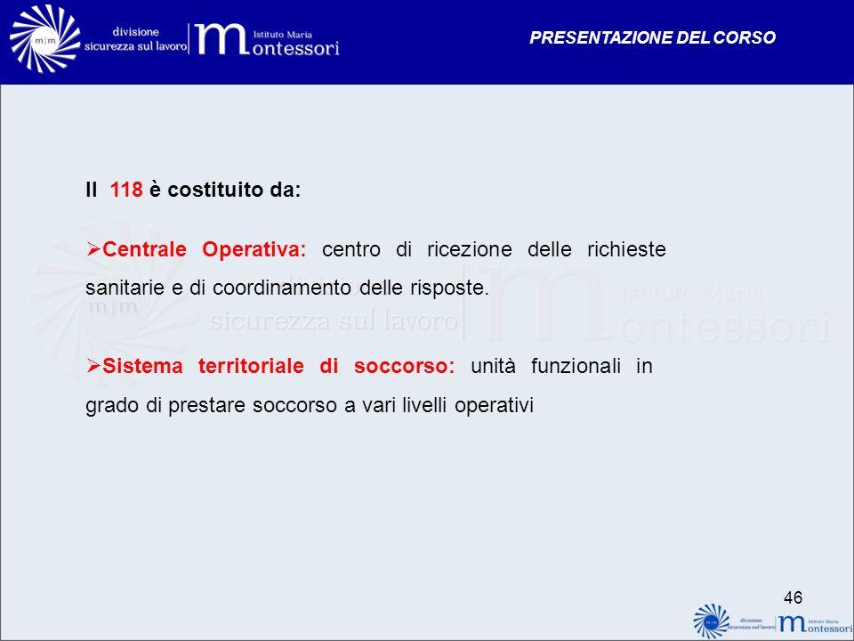 PRESENTAZIONE DEL CORSO Il 118 è costituito da: Centrale Operativa: centro di ricezione delle richieste sanitarie e di coordinamento delle risposte. S