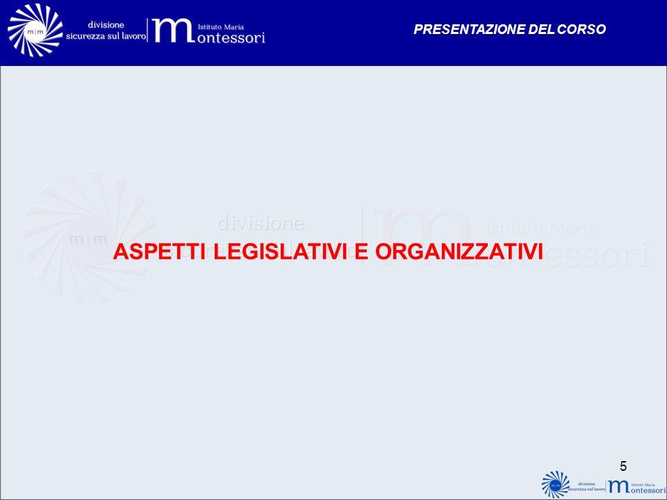 PRESENTAZIONE DEL CORSO ASPETTI LEGISLATIVI E ORGANIZZATIVI 5