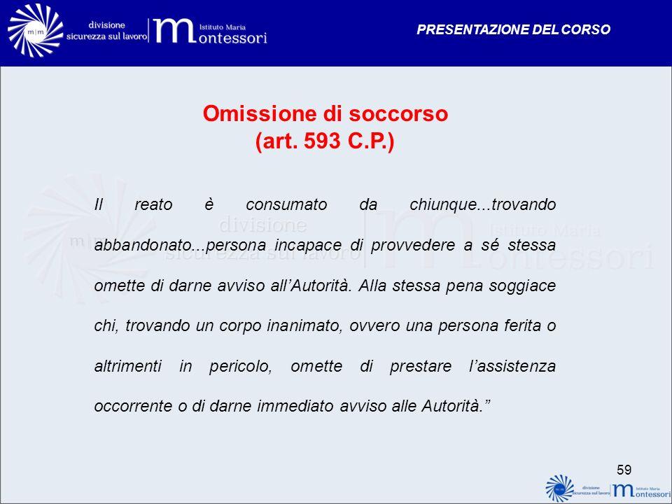 PRESENTAZIONE DEL CORSO Omissione di soccorso (art. 593 C.P.) Il reato è consumato da chiunque...trovando abbandonato...persona incapace di provvedere