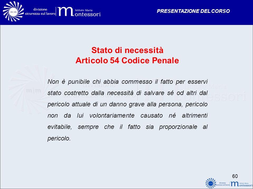 PRESENTAZIONE DEL CORSO Stato di necessità Articolo 54 Codice Penale Non è punibile chi abbia commesso il fatto per esservi stato costretto dalla nece