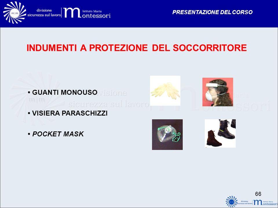 PRESENTAZIONE DEL CORSO INDUMENTI A PROTEZIONE DEL SOCCORRITORE GUANTI MONOUSO VISIERA PARASCHIZZI POCKET MASK 66