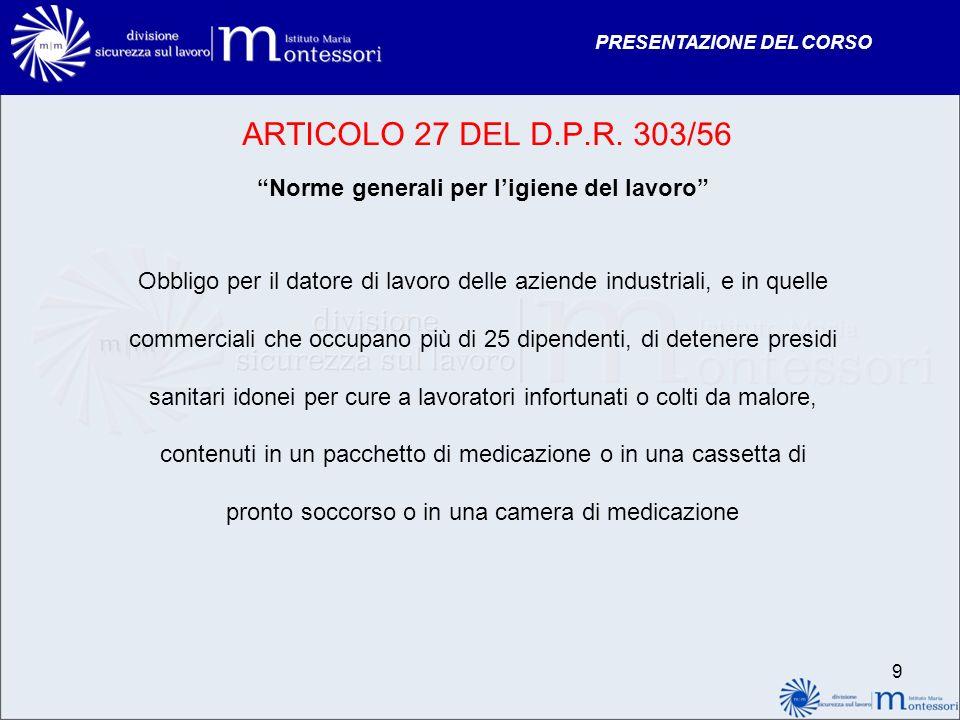 PRESENTAZIONE DEL CORSO ARTICOLO 27 DEL D.P.R. 303/56 Norme generali per ligiene del lavoro Obbligo per il datore di lavoro delle aziende industriali,