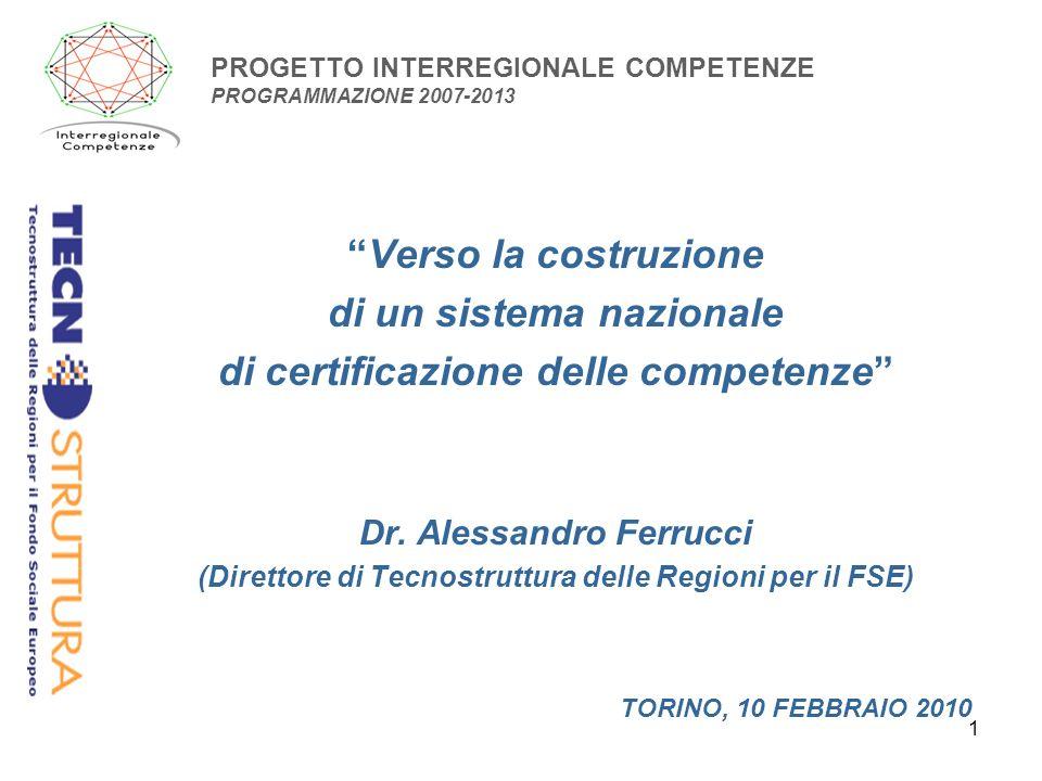 1 PROGETTO INTERREGIONALE COMPETENZE PROGRAMMAZIONE 2007-2013 Verso la costruzione di un sistema nazionale di certificazione delle competenze Dr.