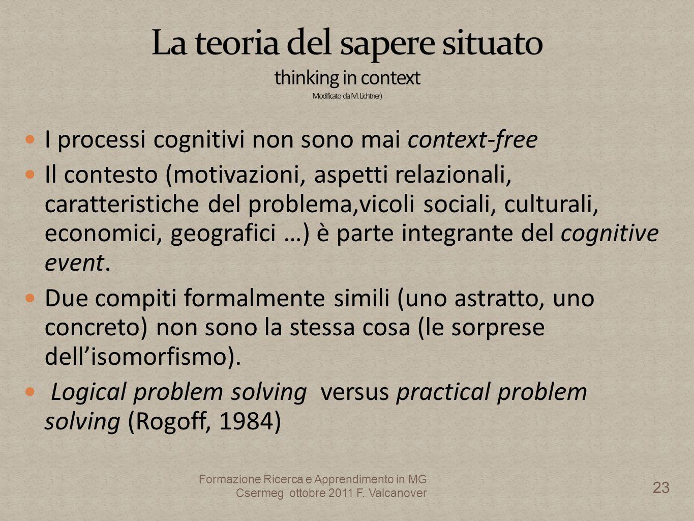 I processi cognitivi non sono mai context-free Il contesto (motivazioni, aspetti relazionali, caratteristiche del problema,vicoli sociali, culturali, economici, geografici …) è parte integrante del cognitive event.