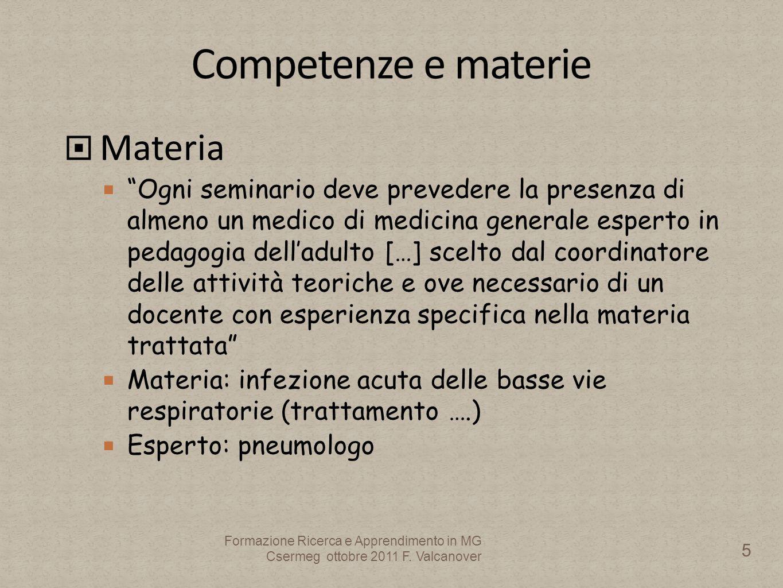 Omaggio a Francesco Salvestroni 46 Formazione Ricerca e Apprendimento in MG Csermeg ottobre 2011 F.