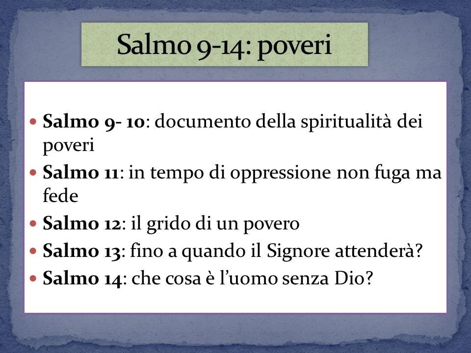 Salmo 9- 10: documento della spiritualità dei poveri Salmo 11: in tempo di oppressione non fuga ma fede Salmo 12: il grido di un povero Salmo 13: fino