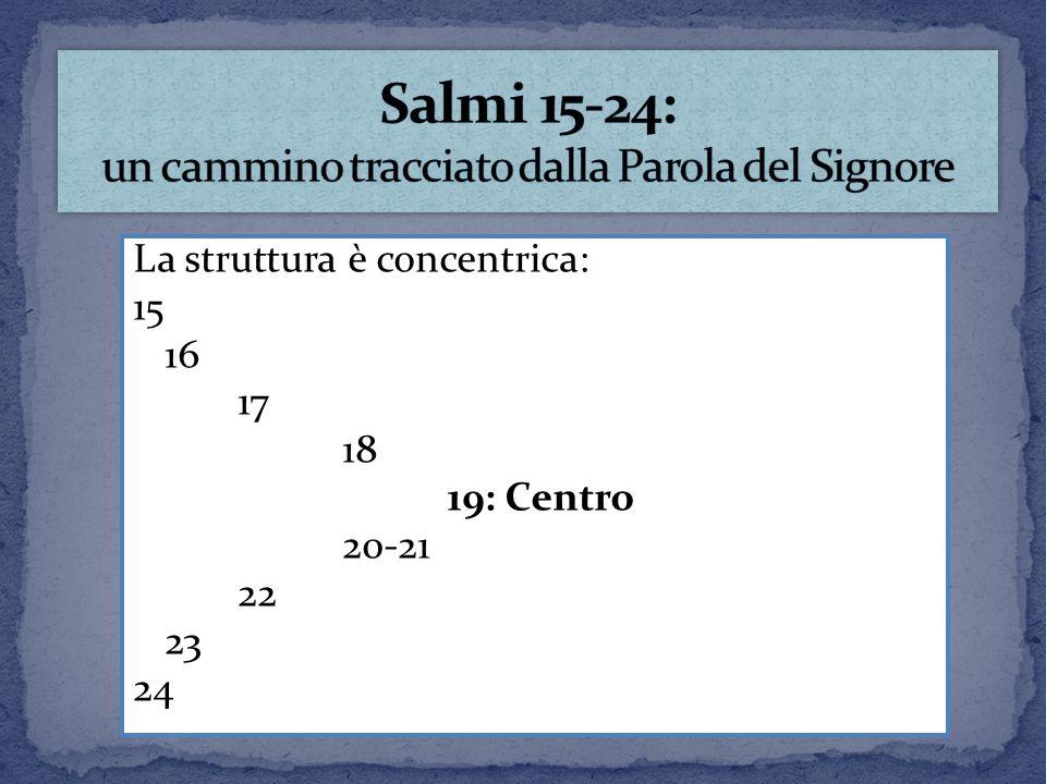 La struttura è concentrica: 15 16 17 18 19: Centro 20-21 22 23 24
