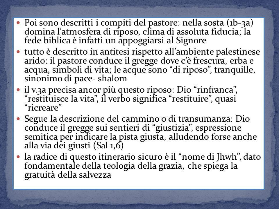 Poi sono descritti i compiti del pastore: nella sosta (1b-3a) domina latmosfera di riposo, clima di assoluta fiducia; la fede biblica è infatti un app