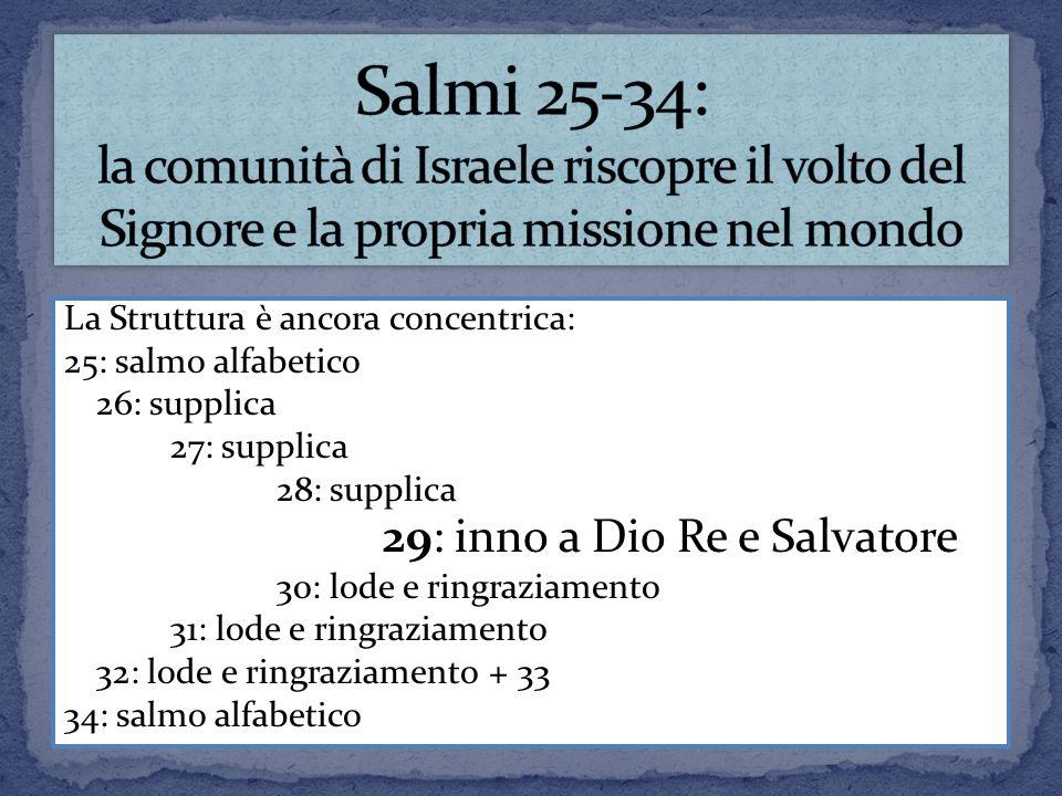 La Struttura è ancora concentrica: 25: salmo alfabetico 26: supplica 27: supplica 28: supplica 29: inno a Dio Re e Salvatore 30: lode e ringraziamento