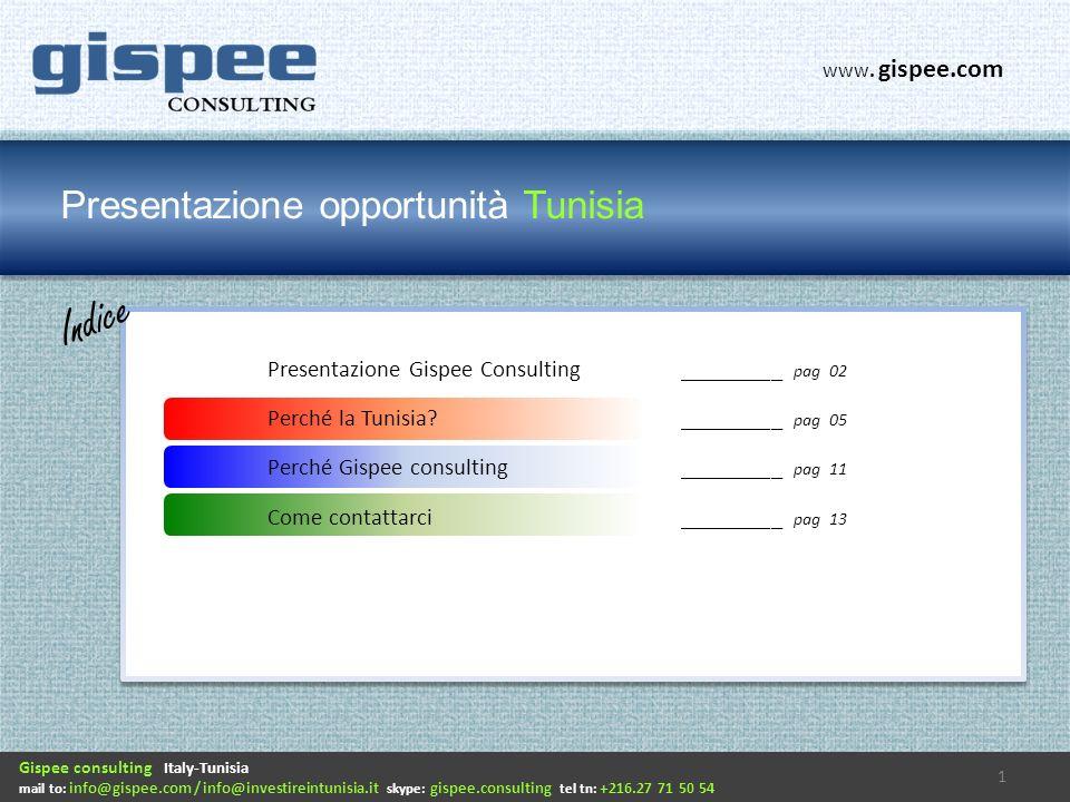 Presentazione opportunità Tunisia Indice Gispee consulting Italy-Tunisia mail to: info@gispee.com / info@investireintunisia.it skype: gispee.consulting tel tn: +216.27 71 50 54 www.