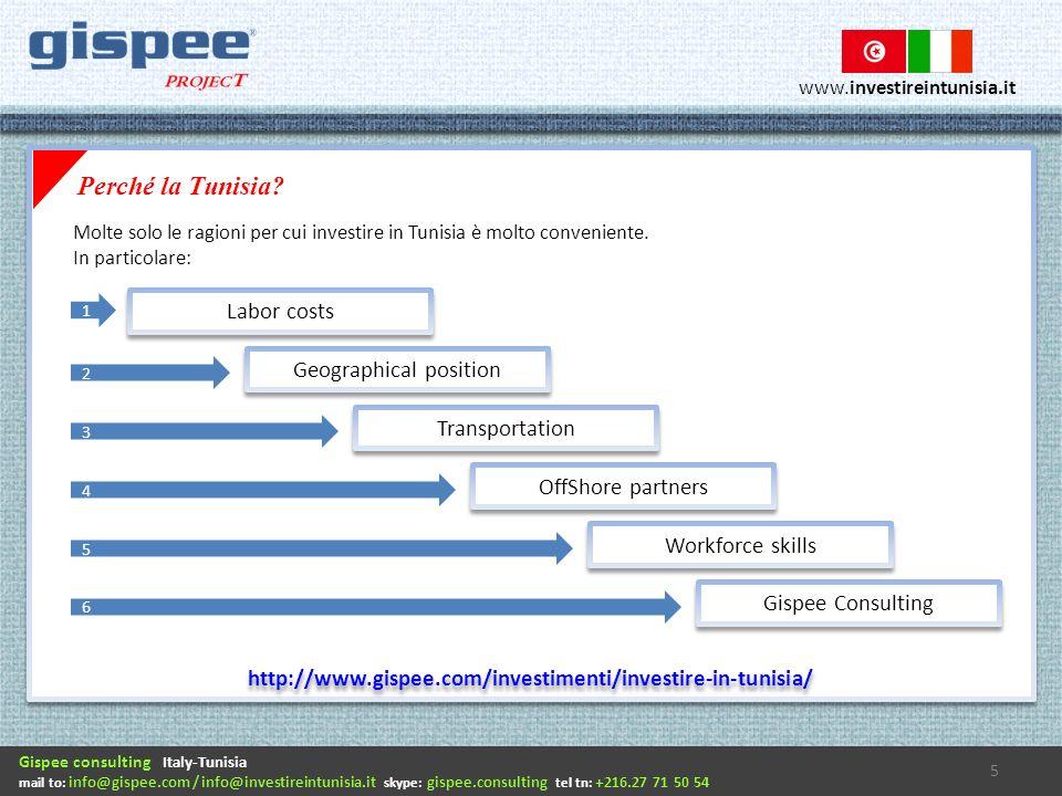 Gispee consulting Italy-Tunisia mail to: info@gispee.com / info@investireintunisia.it skype: gispee.consulting tel tn: +216.27 71 50 54 www.investireintunisia.it Perché la Tunisia.