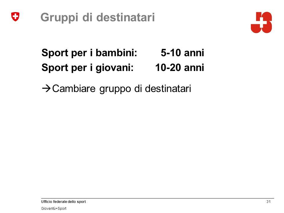 31 Ufficio federale dello sport Gioventù+Sport Gruppi di destinatari Sport per i bambini: 5-10 anni Sport per i giovani:10-20 anni Cambiare gruppo di
