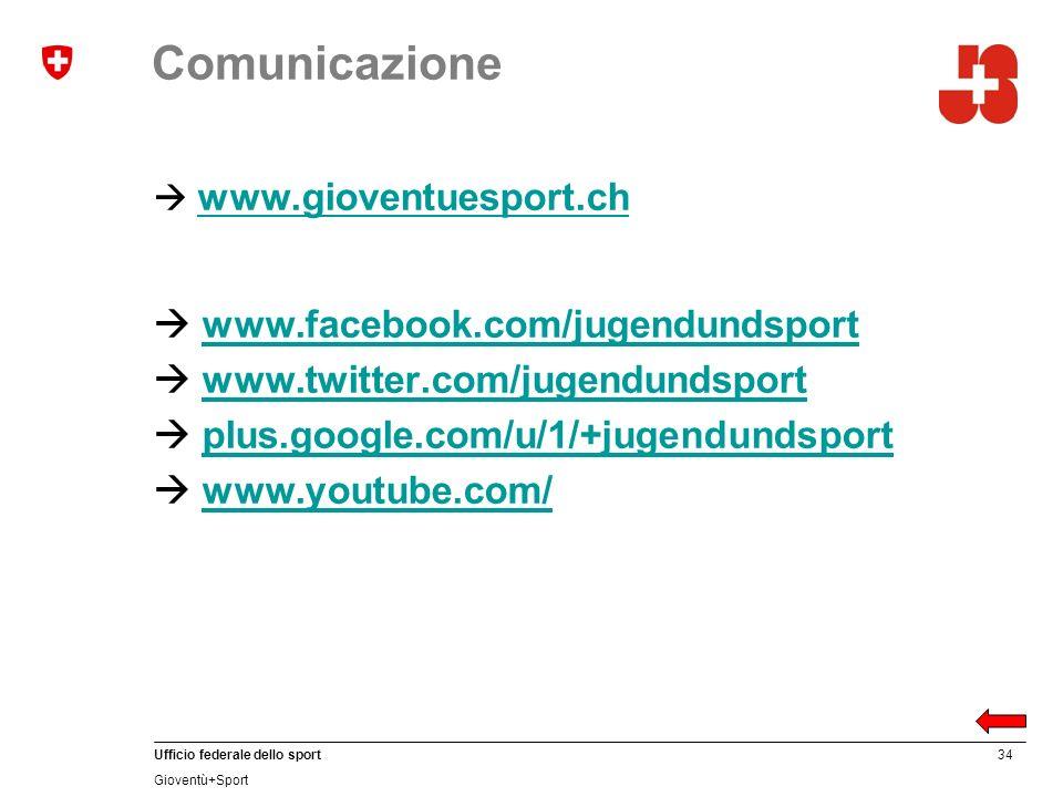 34 Ufficio federale dello sport Gioventù+Sport Comunicazione www.gioventuesport.ch www.facebook.com/jugendundsport www.twitter.com/jugendundsport plus