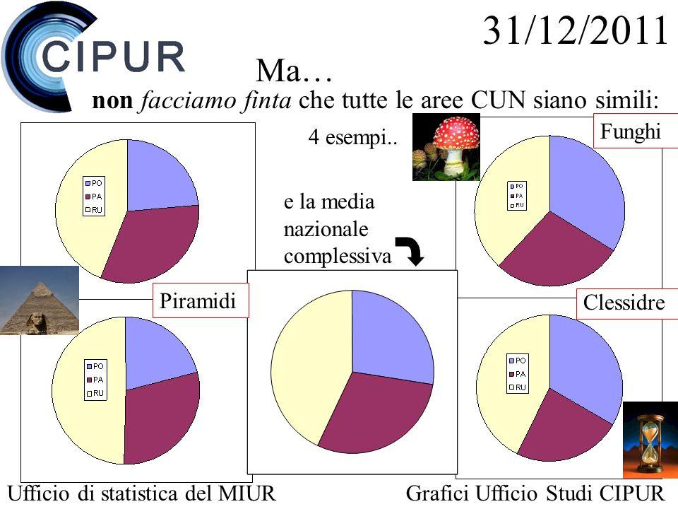 31/12/2011 Ufficio di statistica del MIURGrafici Ufficio Studi CIPUR non facciamo finta che tutte le aree CUN siano simili: 4 esempi..