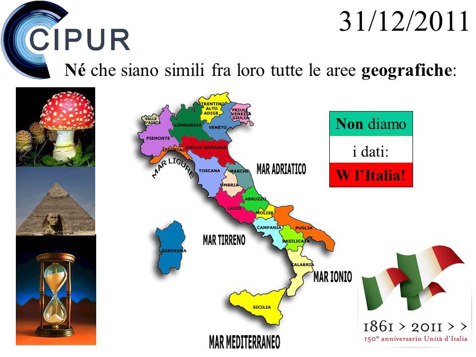 31/12/2011 Né che siano simili fra loro tutte le aree geografiche: Non diamo i dati: W lItalia!