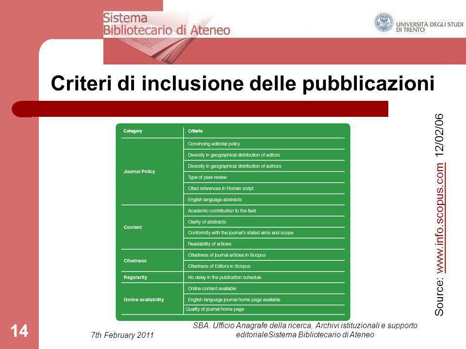 7th February 2011 SBA. Ufficio Anagrafe della ricerca, Archivi istituzionali e supporto editorialeSistema Bibliotecario di Ateneo 14 Criteri di inclus