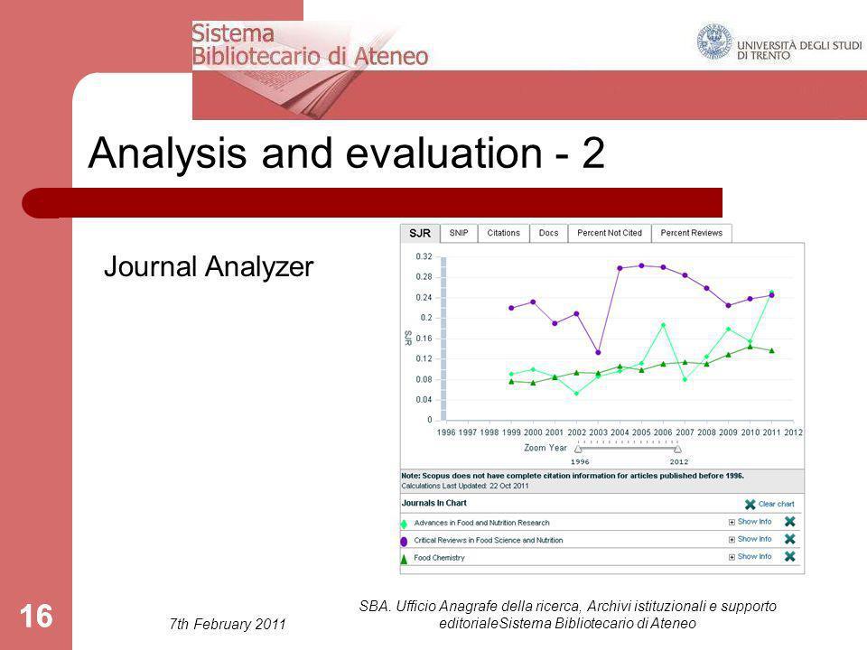 7th February 2011 SBA. Ufficio Anagrafe della ricerca, Archivi istituzionali e supporto editorialeSistema Bibliotecario di Ateneo 16 Analysis and eval