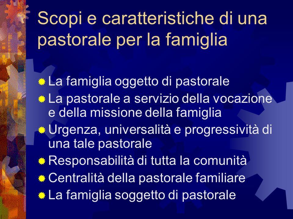 Scopi e caratteristiche di una pastorale per la famiglia La famiglia oggetto di pastorale La pastorale a servizio della vocazione e della missione del