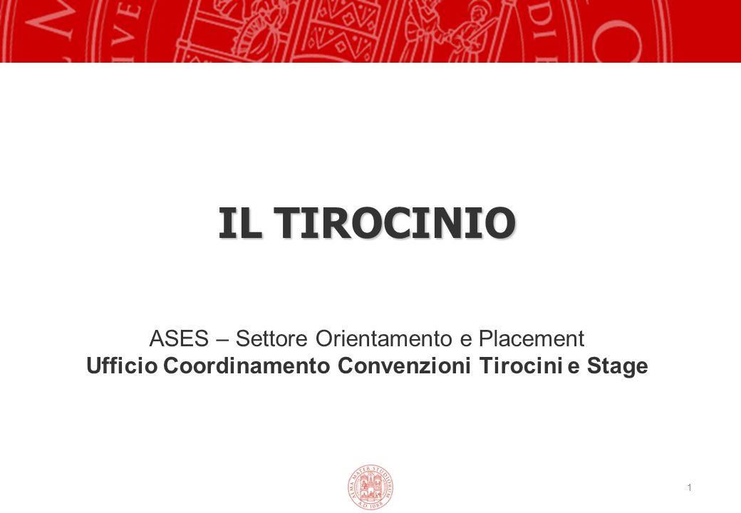 1 IL TIROCINIO ASES – Settore Orientamento e Placement Ufficio Coordinamento Convenzioni Tirocini e Stage