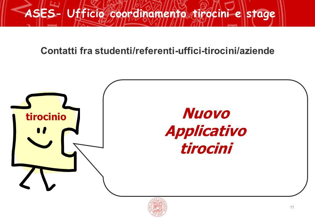 Contatti fra studenti/referenti-uffici-tirocini/aziende 11 ASES- Ufficio coordinamento tirocini e stage tirocinio Nuovo Applicativo tirocini