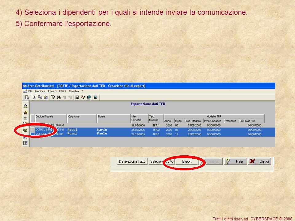 4) Seleziona i dipendenti per i quali si intende inviare la comunicazione.