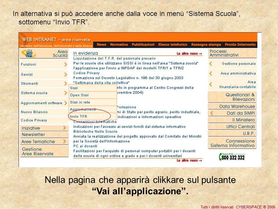 Tutti i diritti riservati CYBERSPACE ® 2006 In alternativa si può accedere anche dalla voce in menù Sistema Scuola, sottomenu Invio TFR.