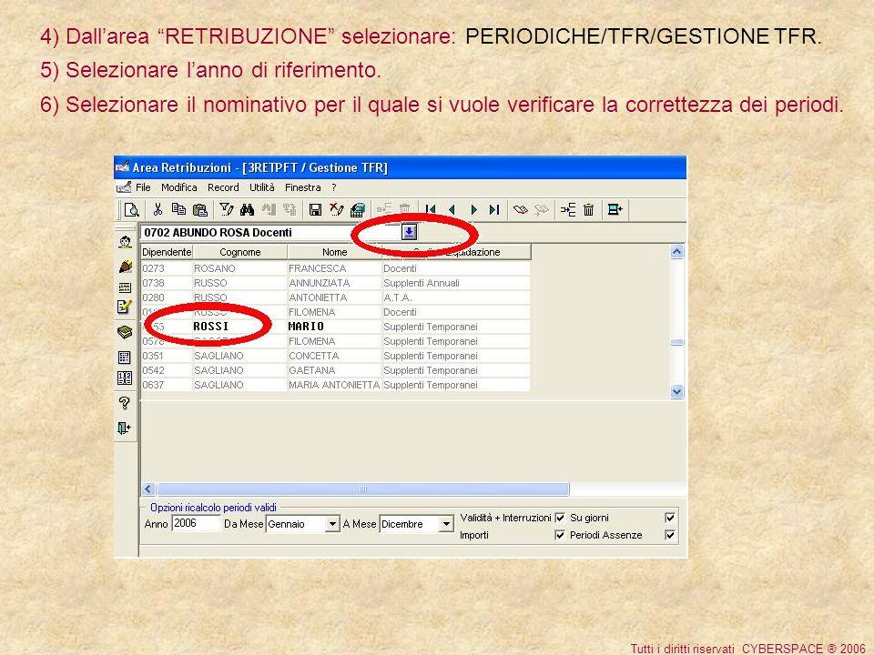 4) Dallarea RETRIBUZIONE selezionare: PERIODICHE/TFR/GESTIONE TFR.