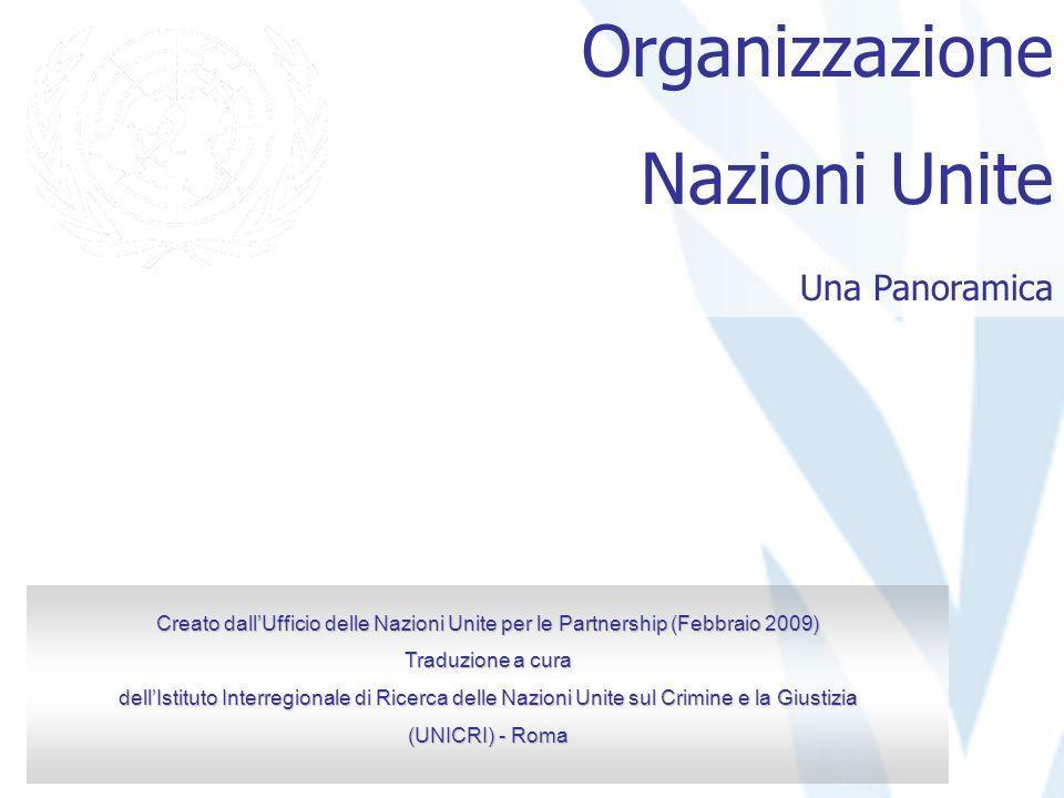 Organizzazione Nazioni Unite Una Panoramica Creato dallUfficio delle Nazioni Unite per le Partnership (Febbraio 2009) Traduzione a cura dellIstituto I