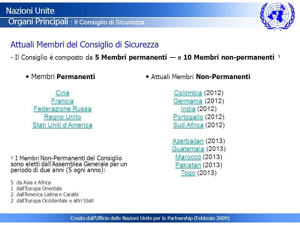 Creato dallUfficio delle Nazioni Unite per le Partnership (Febbraio 2009) Attuali Membri del Consiglio di Sicurezza - Il Consiglio è composto da 5 Mem