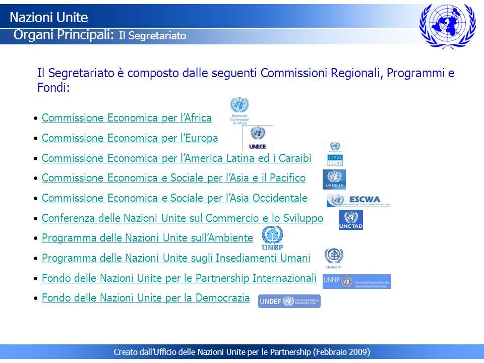 Creato dallUfficio delle Nazioni Unite per le Partnership (Febbraio 2009) Commissione Economica per lAfrica Commissione Economica per lEuropa Commissi