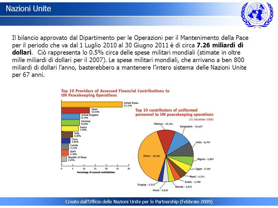 Il bilancio approvato dal Dipartimento per le Operazioni per il Mantenimento della Pace per il periodo che va dal 1 Luglio 2010 al 30 Giugno 2011 è di