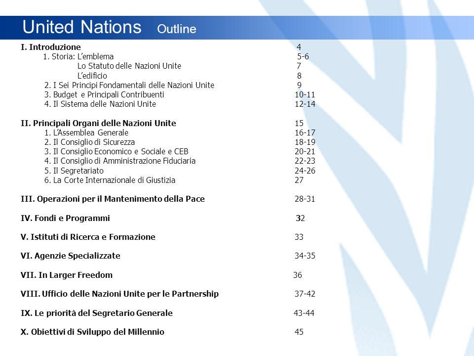 United Nations Outline I. Introduzione 4 1. Storia: Lemblema 5-6 Lo Statuto delle Nazioni Unite 7 Ledificio 8 2. I Sei Principi Fondamentali delle Naz