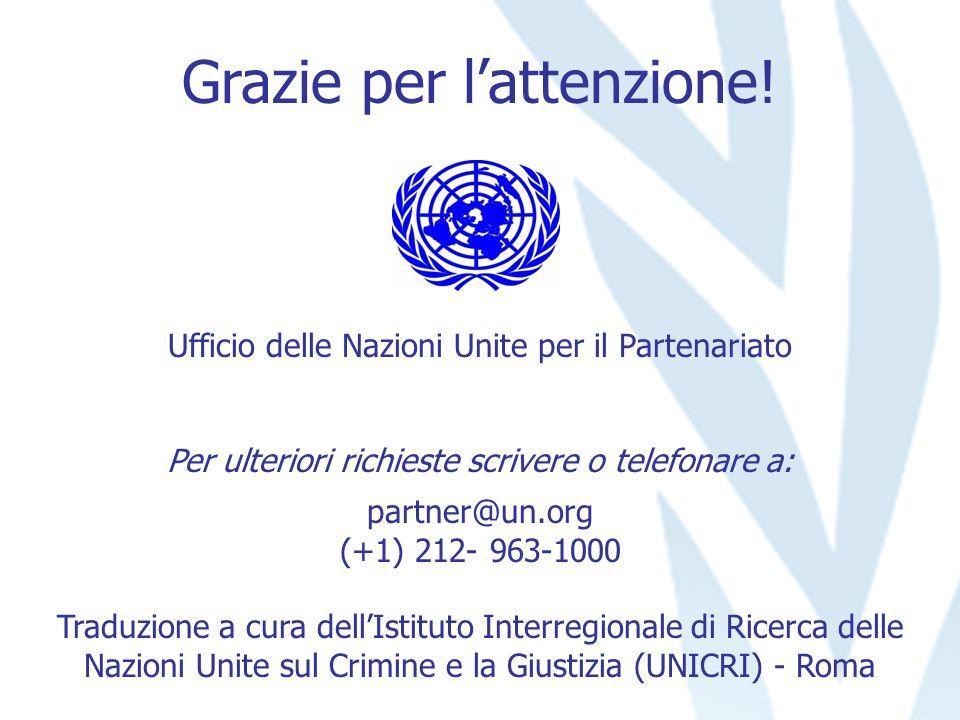 Grazie per lattenzione! Ufficio delle Nazioni Unite per il Partenariato Per ulteriori richieste scrivere o telefonare a: partner@un.org (+1) 212- 963-