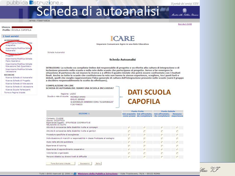 Direzione Generale per lo Studente, lIntegrazione, la Partecipazione e la Comunicazione – Ufficio VI Scheda di autoanalisi DATI SCUOLA CAPOFILA