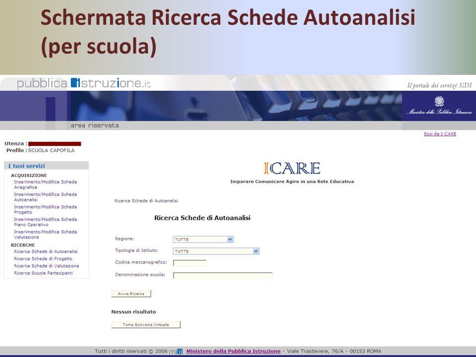 Schermata Ricerca Schede Autoanalisi (per scuola)