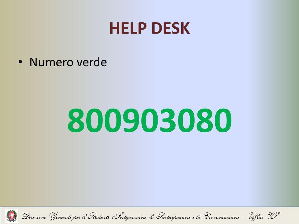 HELP DESK Numero verde 800903080 Direzione Generale per lo Studente, lIntegrazione, la Partecipazione e la Comunicazione – Ufficio VI