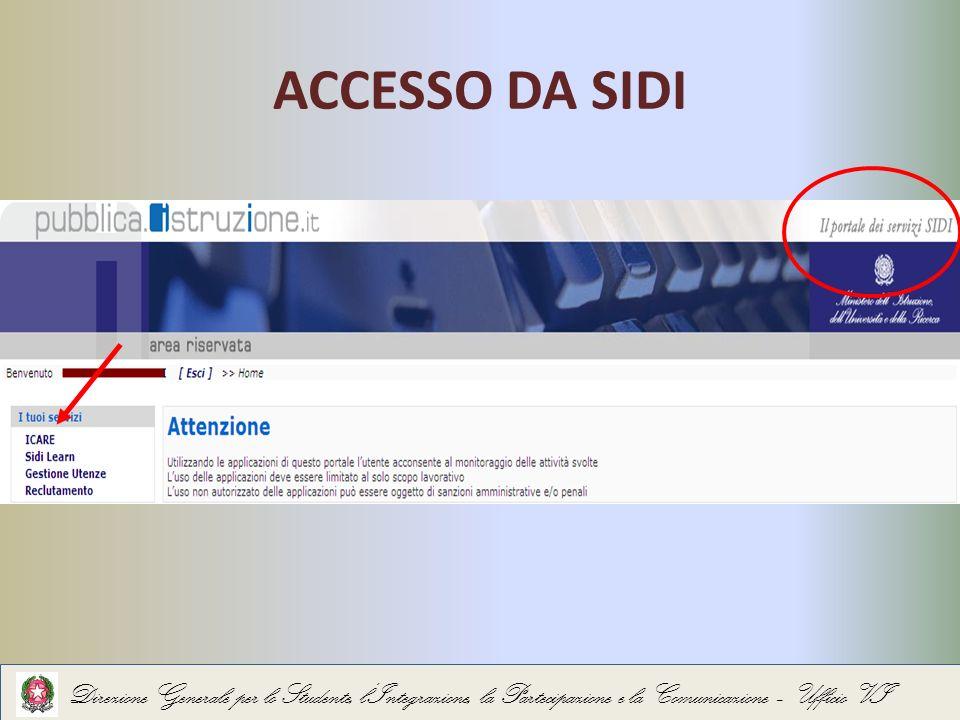 ACCESSO DA SIDI Direzione Generale per lo Studente, lIntegrazione, la Partecipazione e la Comunicazione – Ufficio VI