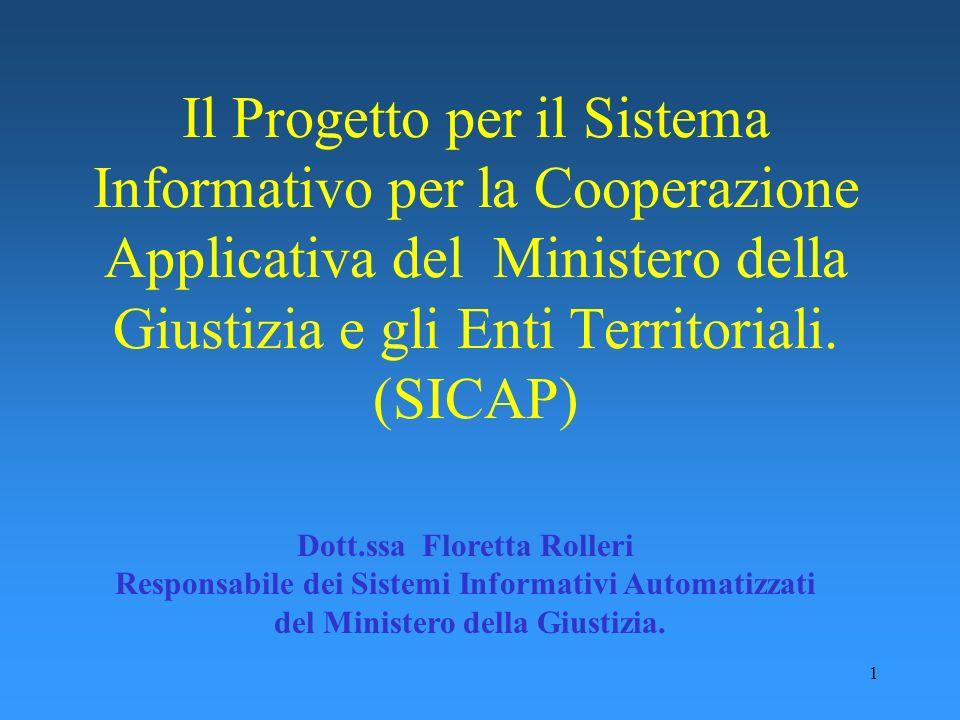 1 Il Progetto per il Sistema Informativo per la Cooperazione Applicativa del Ministero della Giustizia e gli Enti Territoriali. (SICAP) Dott.ssa Flore