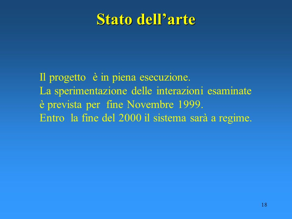 18 Stato dellarte Il progetto è in piena esecuzione. La sperimentazione delle interazioni esaminate è prevista per fine Novembre 1999. Entro la fine d