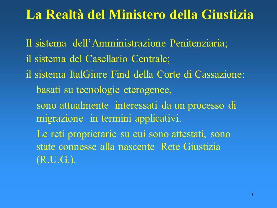 3 Il sistema dellAmministrazione Penitenziaria; il sistema del Casellario Centrale; il sistema ItalGiure Find della Corte di Cassazione: basati su tec