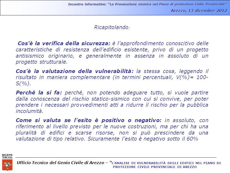 Ufficio Tecnico del Genio Civile di Arezzo – LANALISI DI VULNERABILITÀ DEGLI EDIFICI NEL PIANO DI PROTEZIONE CIVILE PROVINCIALE DI AREZZO Incontro informativo: La Prevenzione sismica nel Piano di protezione Civile Provinciale Arezzo, 13 dicembre 2012 Ricapitolando : Cosè la verifica della sicurezza: è lapprofondimento conoscitivo delle caratteristiche di resistenza delledificio esistente, privo di un progetto antisismico originario, e generalmente in assenza in assoluto di un progetto strutturale.