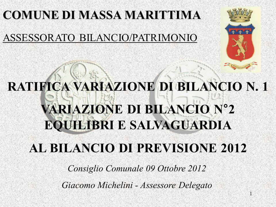 1 COMUNE DI MASSA MARITTIMA RATIFICA VARIAZIONE DI BILANCIO N.