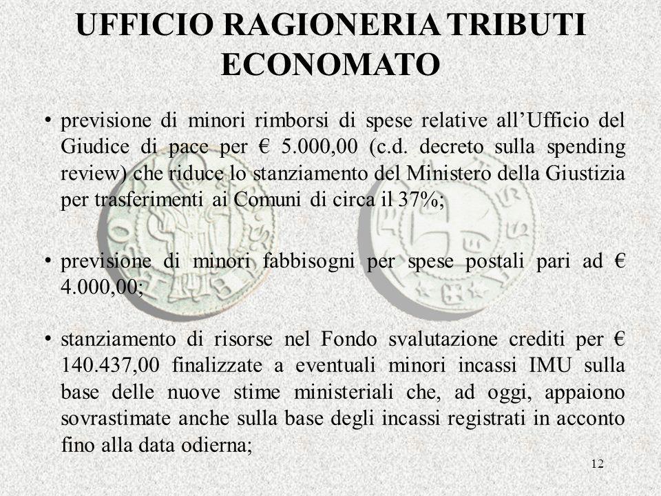 12 UFFICIO RAGIONERIA TRIBUTI ECONOMATO previsione di minori rimborsi di spese relative allUfficio del Giudice di pace per 5.000,00 (c.d.