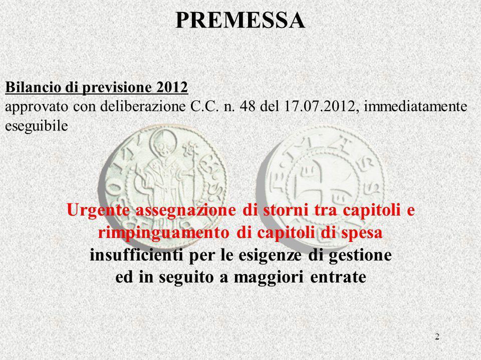 2 PREMESSA Bilancio di previsione 2012 approvato con deliberazione C.C.