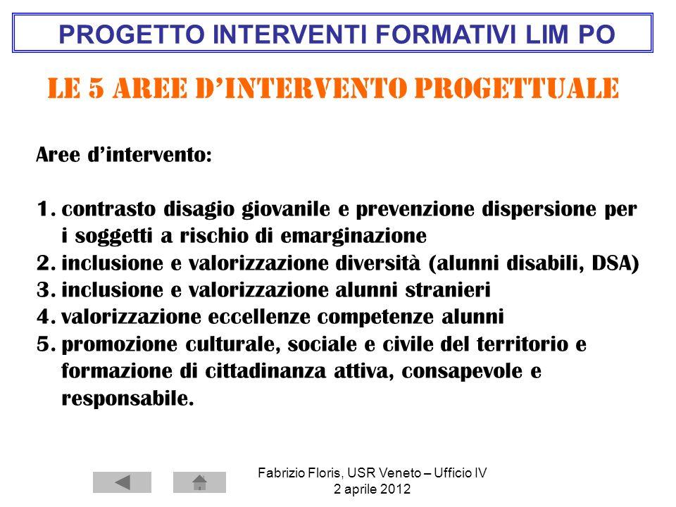 Fabrizio Floris, USR Veneto – Ufficio IV 2 aprile 2012 PROGETTO INTERVENTI FORMATIVI LIM PO Le 5 Aree dintervento progettuale Aree dintervento: 1.cont