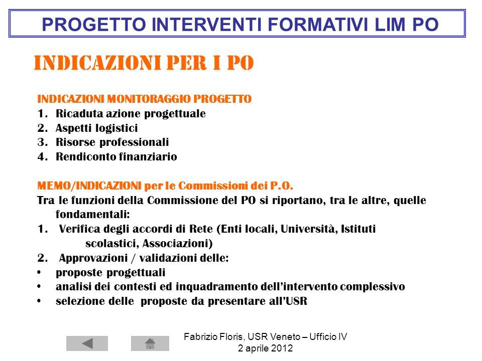 Fabrizio Floris, USR Veneto – Ufficio IV 2 aprile 2012 PROGETTO INTERVENTI FORMATIVI LIM PO Indicazioni per i pO INDICAZIONI MONITORAGGIO PROGETTO 1.R