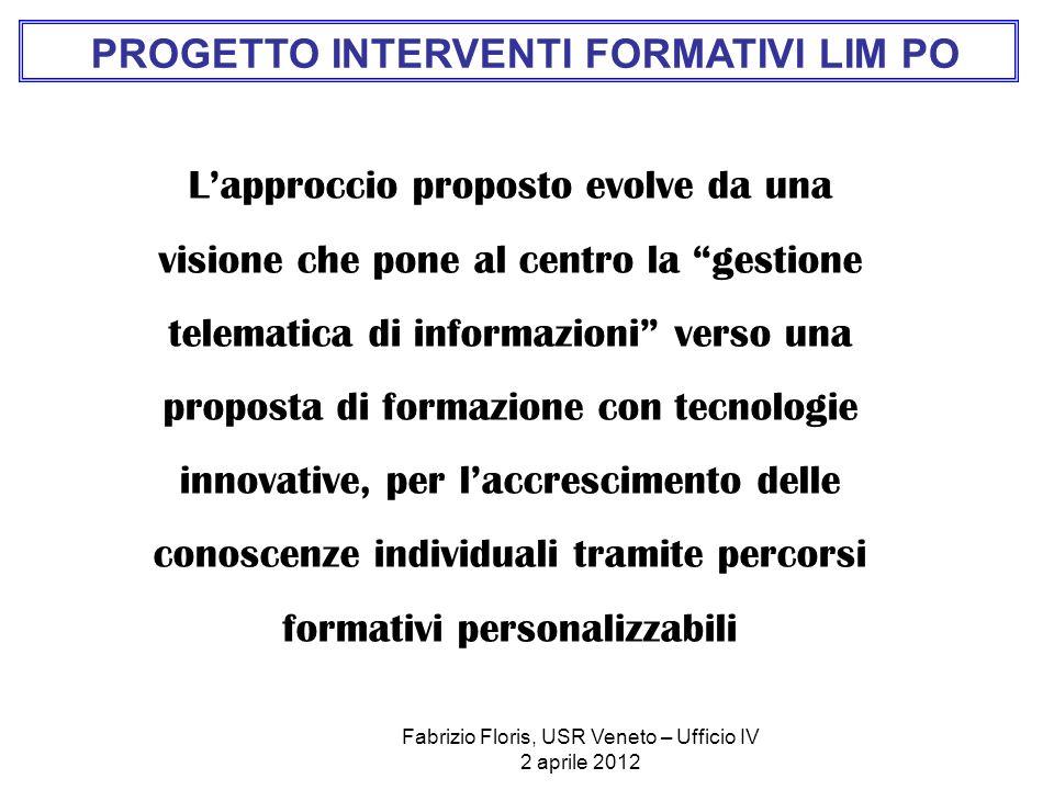 Fabrizio Floris, USR Veneto – Ufficio IV 2 aprile 2012 Lapproccio proposto evolve da una visione che pone al centro la gestione telematica di informaz